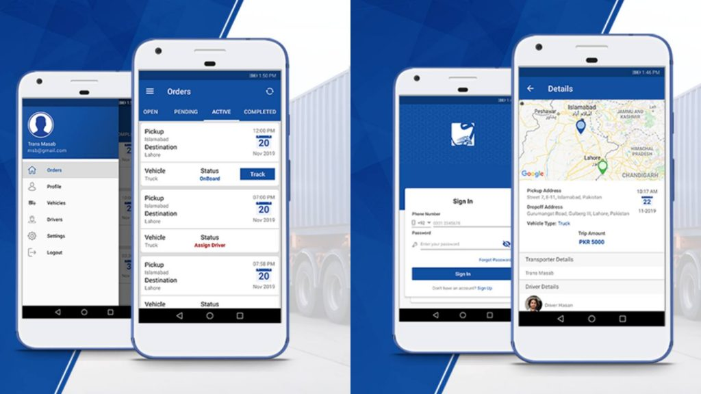 This image shows the UI of the Wahyd Logistics App